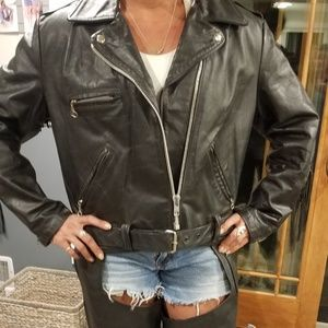 Genuine leather motorcycle jacket with fringe